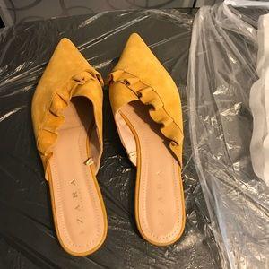 Zara Mustard Suede Mules